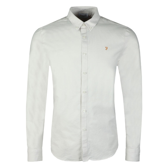 Farah Mens Grey Brewer LS Oxford Shirt main image