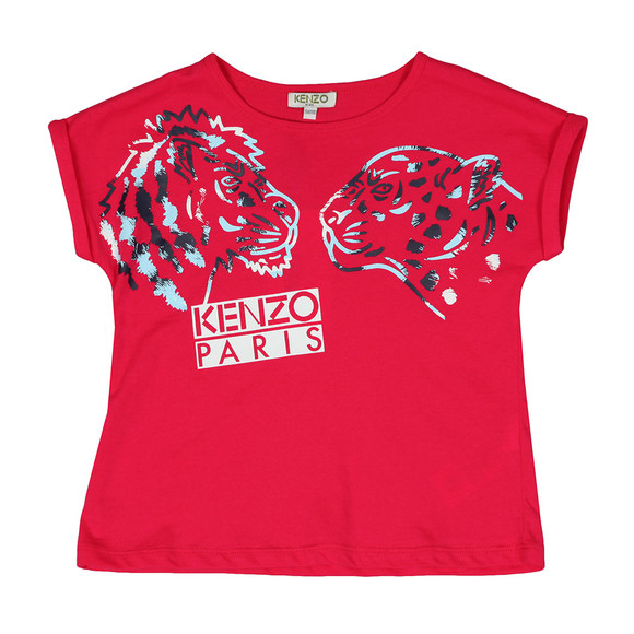 Kenzo Kids Girls Pink Tiger & Lion T-Shirt