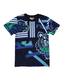 Kenzo Kids Boys Blue Tiger & Friends T Shirt
