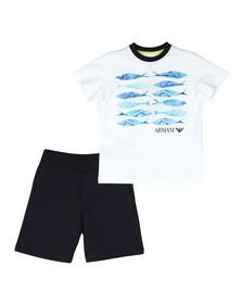 Armani Junior  Boys White Fish Logo T Shirt & Short Set