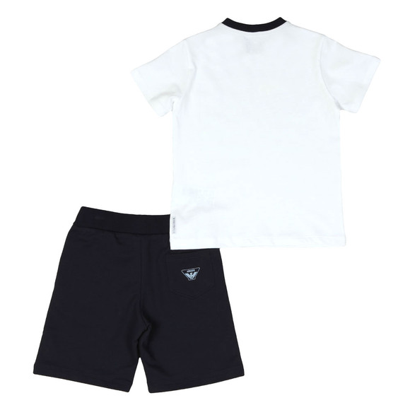 Armani Junior  Boys White Fish Logo T Shirt & Short Set