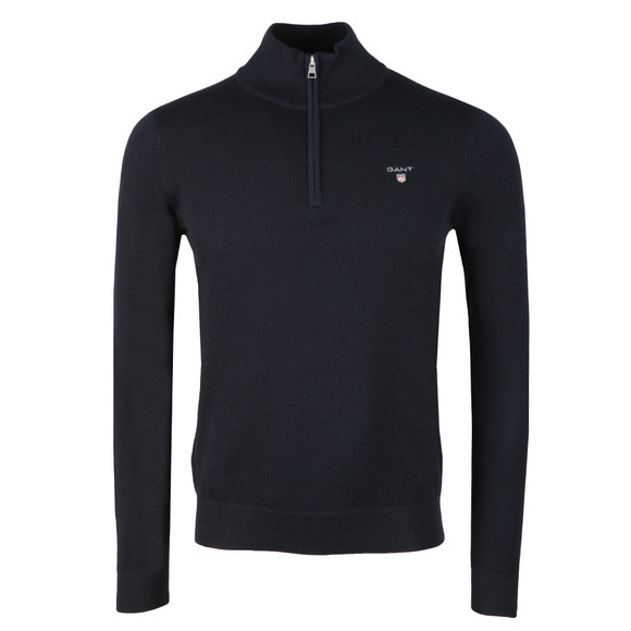 Gant Mens Blue Cotton Pique Half Zip Jumper main image
