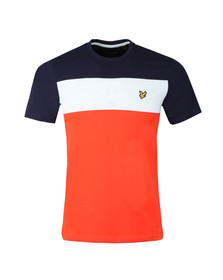 Lyle and Scott Mens Red S/S Block Stripe Tee