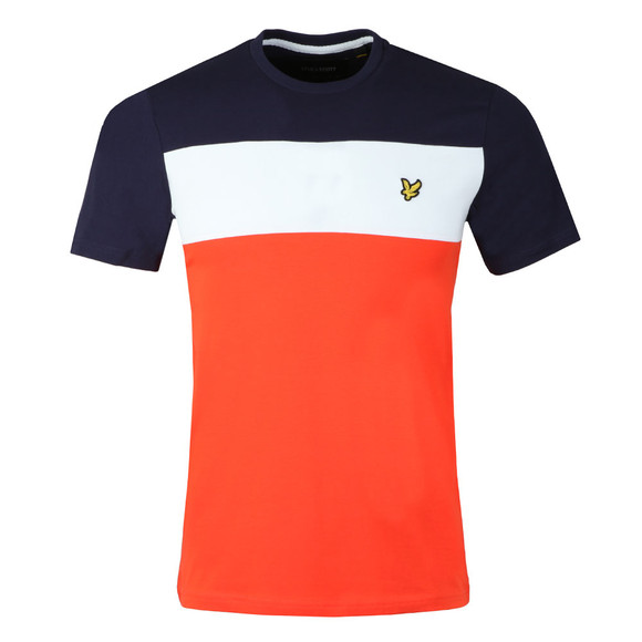 Lyle and Scott Mens Red S/S Block Stripe Tee main image