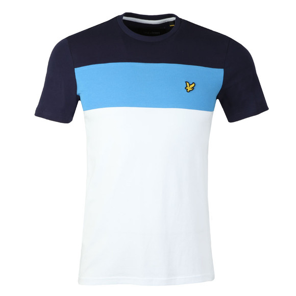 Lyle and Scott Mens White S/S Block Stripe Tee main image