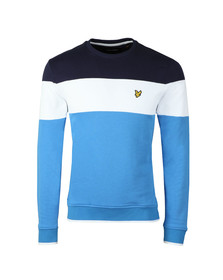Lyle and Scott Mens Blue Block Stripe Sweat
