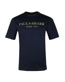 Paul & Shark Mens Blue Gold Logo T Shirt