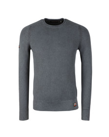 Superdry Mens Washed Carbon Grey Textured Crew Jumper