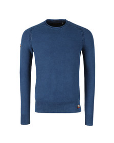 Superdry Mens Washed Legion Blue Textured Crew Jumper