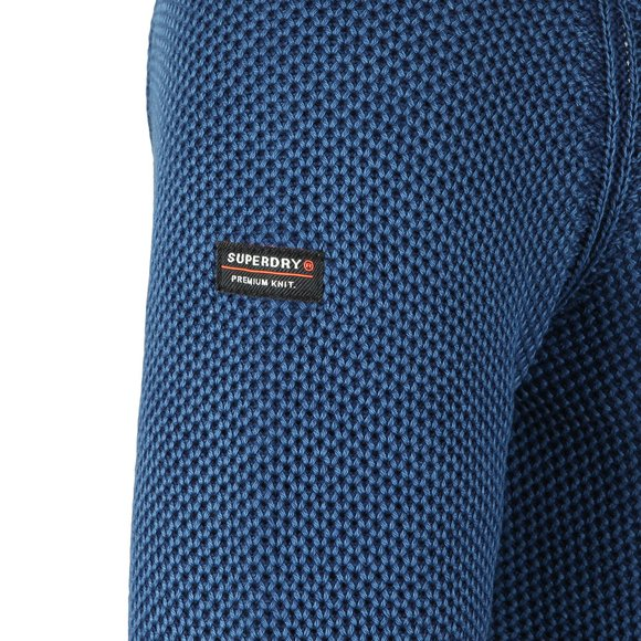 Superdry Mens Blue Textured Crew Jumper main image