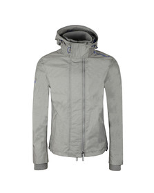 Superdry Mens Track Grey Marl/cobalt Tech Hood Pop Zip Windcheater