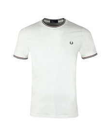Fred Perry Mens White Twin Tipped T-shirt