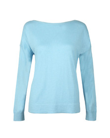 French Connection Womens Blue Summer Slashneck Jumper
