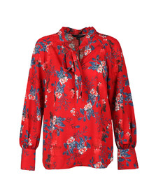 French Connection Womens Red Kioa Crepe Tie Neck Top