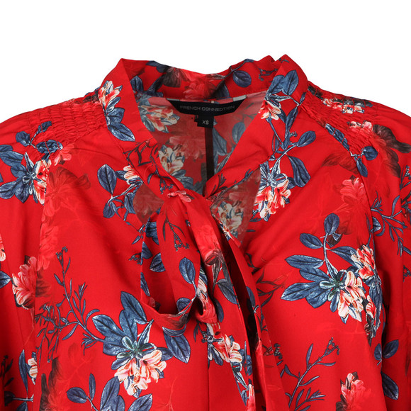 French Connection Womens Red Kioa Crepe Tie Neck Top main image