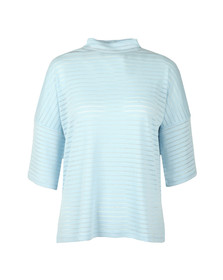 French Connection Womens Blue Beka Rib Jersey High Neck Top