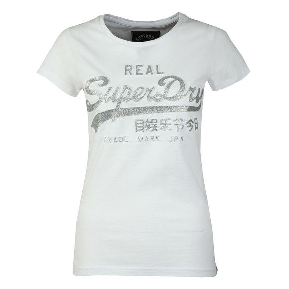Superdry Womens White Vintage Logo Embossed Glitter Entry Tee main image