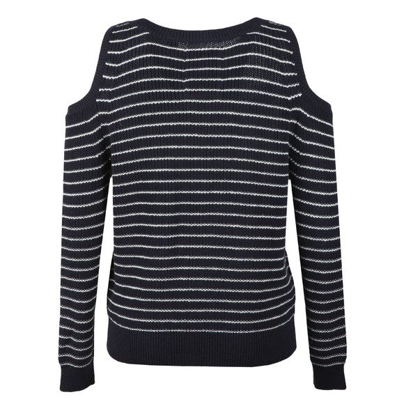 Superdry Womens Blue Ribbed Cold Shoulder Knit main image
