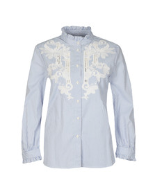 French Connection Womens Blue Olasega Stripe Grandad Shirt