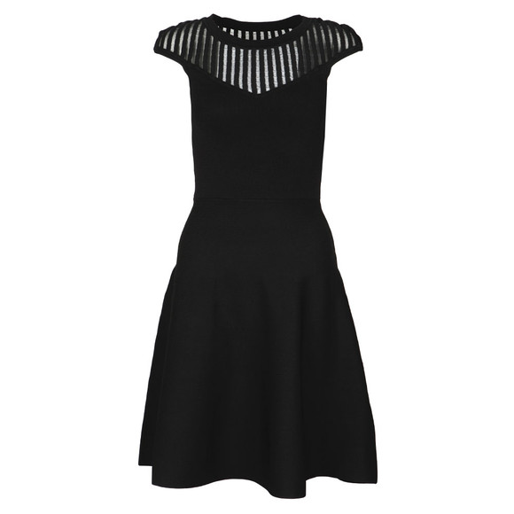 French Connection Womens Black Rose Crepe Knits Capped Sleeve Dress main image