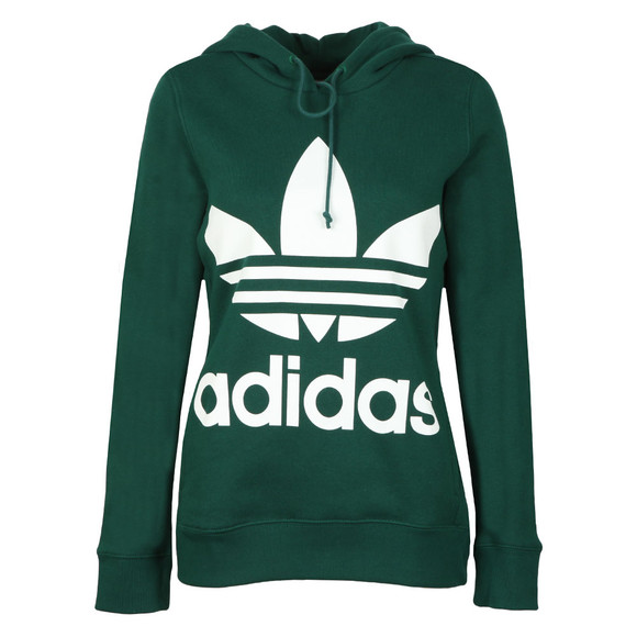 Adidas Originals Womens Green Trefoil Logo Hoody main image