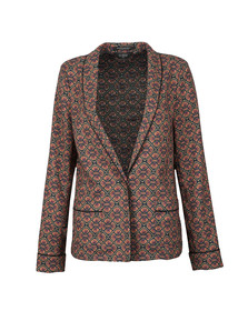 Maison Scotch Womens Black Drapey Printed Blazer