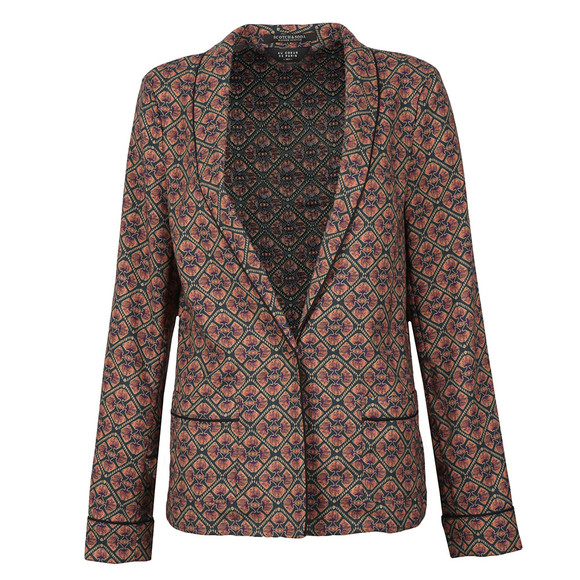 Maison Scotch Womens Black Drapey Printed Blazer main image