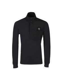 Ma.Strum Mens Blue Pique Funnel Neck Sweat