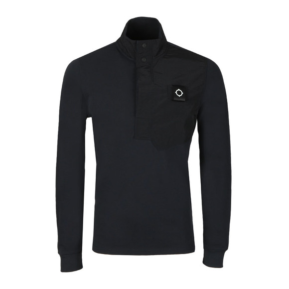 Ma.Strum Mens Blue Pique Funnel Neck Sweat main image