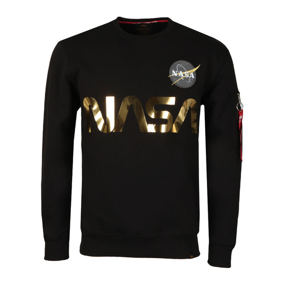 Alpha Industries Mens Black NASA Reflective Sweat main image