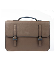 Ted Baker Mens Brown Crossgrain Satchel