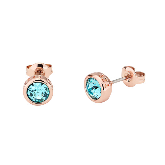 Ted Baker Womens Pink Turquoise/Rose Gold Sinaa Crystal Stud Earrings main image