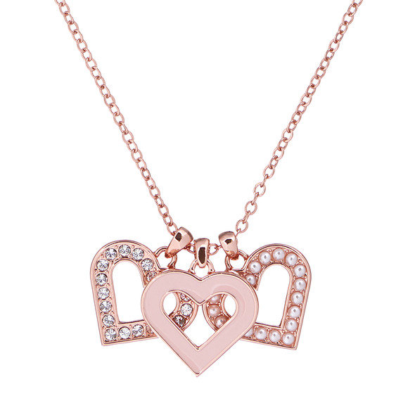 Ted Baker Womens Pink Rose Gold Ezzrela Enchanted Heart Pendant main image