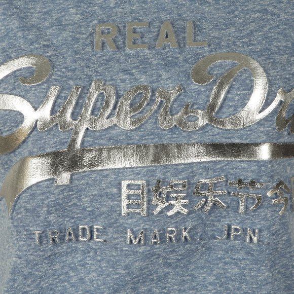 Superdry Womens Blue Vintage Logo Embossed Foil Tee main image