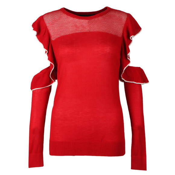 French Connection Womens Red Louise Frill Crew Knit main image