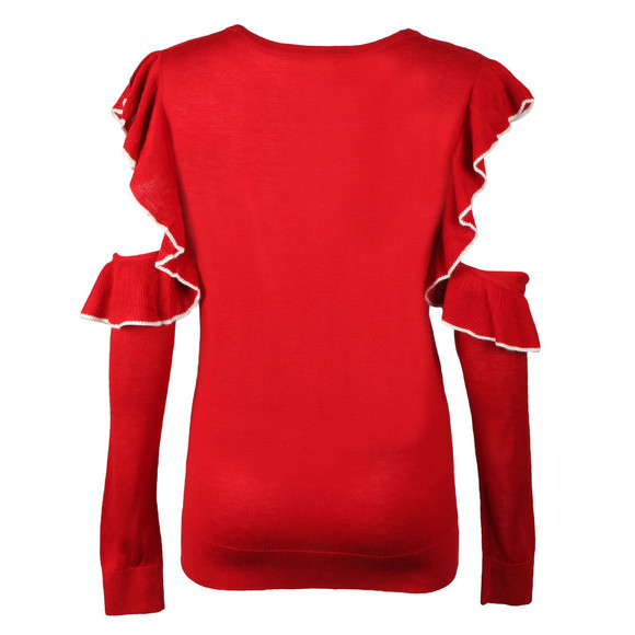 French Connection Womens Red Louise Frill Crew Knit