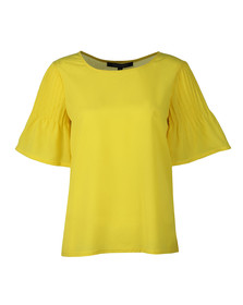 French Connection Womens Yellow Classic Crepe Fluted Top