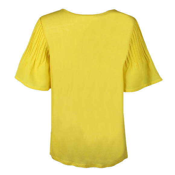 French Connection Womens Yellow Classic Crepe Fluted Top main image