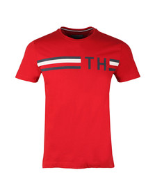 Tommy Hilfiger Mens Red S/S Striped Logo Tee