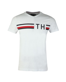 Tommy Hilfiger Mens White S/S Striped Logo Tee