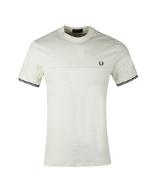 Fred Perry Mens Off-white S/S Waffle Panel Tee