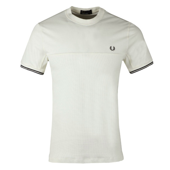 Fred Perry Mens Off-White S/S Waffle Panel Tee main image