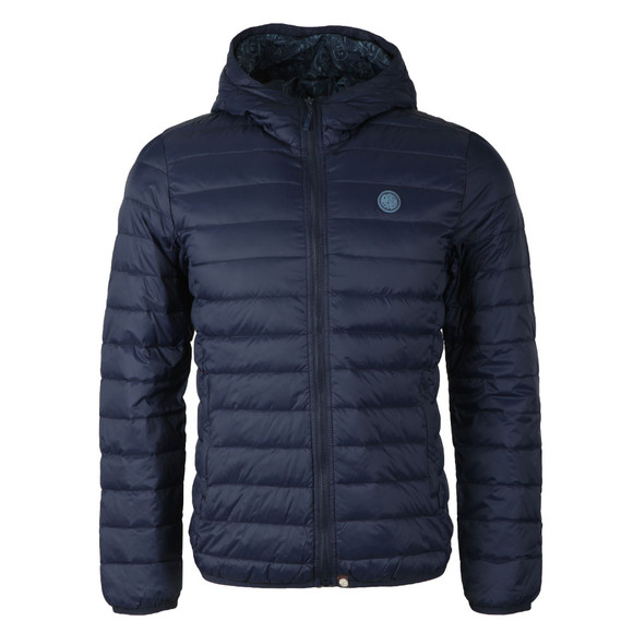 Pretty Green Mens Blue Lightweight Quilted Hooded Jacket main image