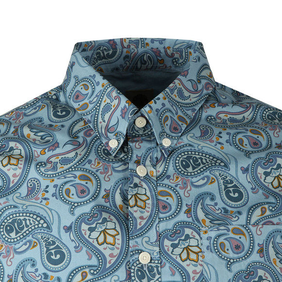 Pretty Green Mens Blue Slim Fit Paisley Print Shirt main image
