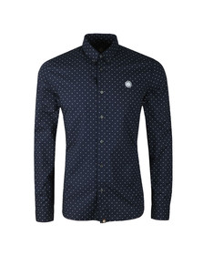 Pretty Green Mens Blue Slim Fit Polka Dot Shirt