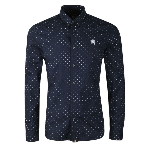 Pretty Green Mens Blue Slim Fit Polka Dot Shirt main image