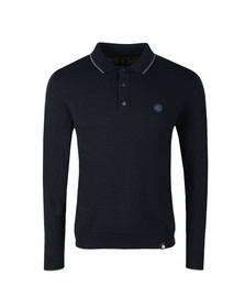 Pretty Green Mens Blue L/S Tipped Knitted Polo