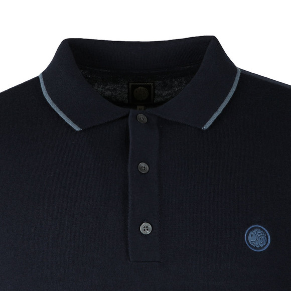 Pretty Green Mens Blue L/S Tipped Knitted Polo main image