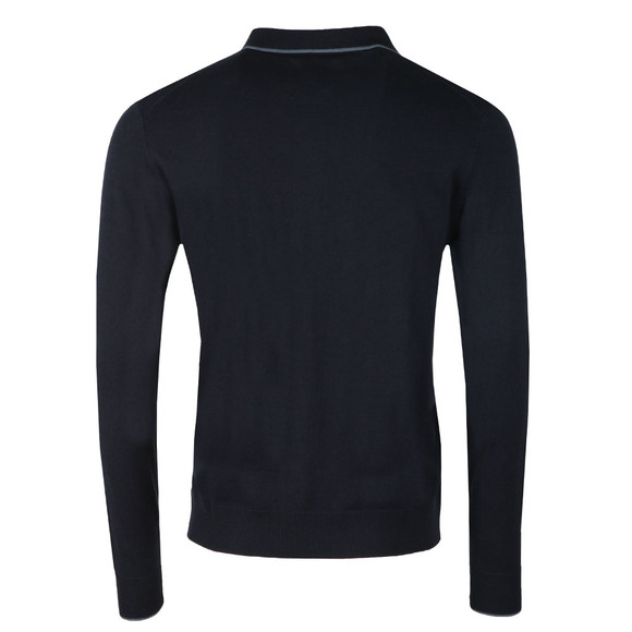 Pretty Green Mens Blue L/S Tilson Knitted Polo main image