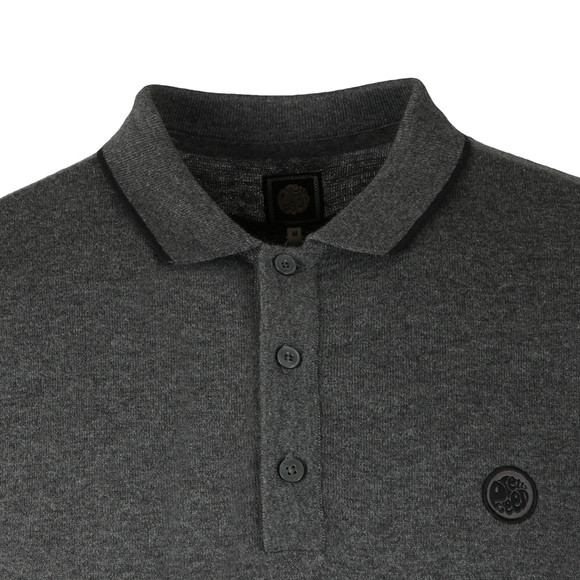 Pretty Green Mens Grey Tipped Knitted Polo Shirt main image
